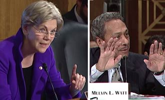 Senator Elizabeth Warren makes strong points as Mel Watt tries to counter them.